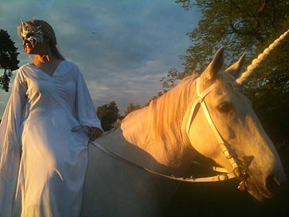 a woman on a horse dressed as a unicorn - courtesy Chitern Open Air Museum for Museums at Night 2013http://www.culture24.org.uk/places%20to%20go/museums%20at%20night/art435642