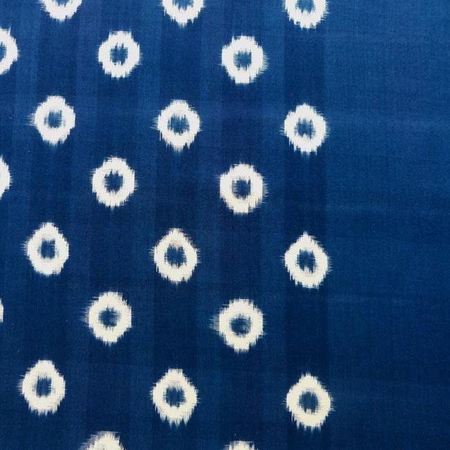 Sally Campbell, Handmade Textiles - Indigo Ikat Small Circles