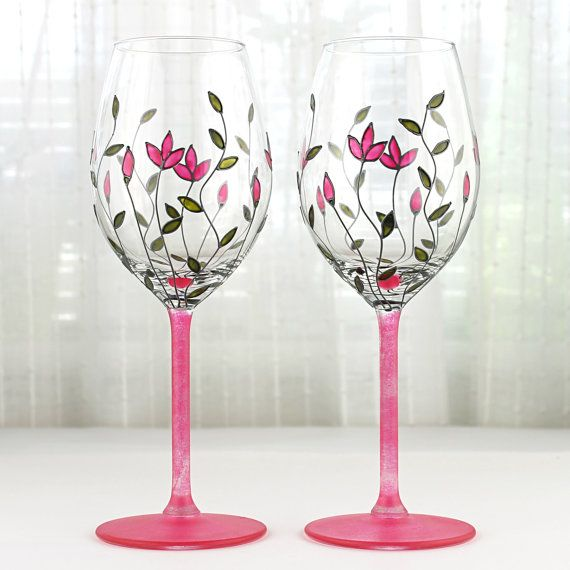 Wine Glasses with  Pink Tulips Design, Wedding Glasses, Floral Wine Glasses, Toasting Glasses, Hand painted, Set of 2, Painted Wine Glasses