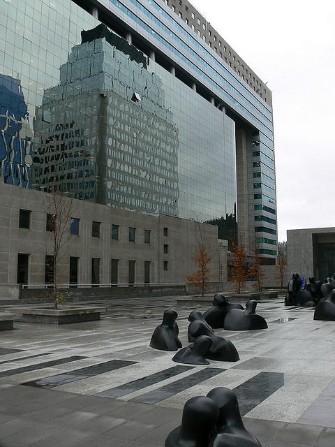 Statues in the vicinity of 2604 Vitacura near the Radisson Hotel in Santiago, Chile