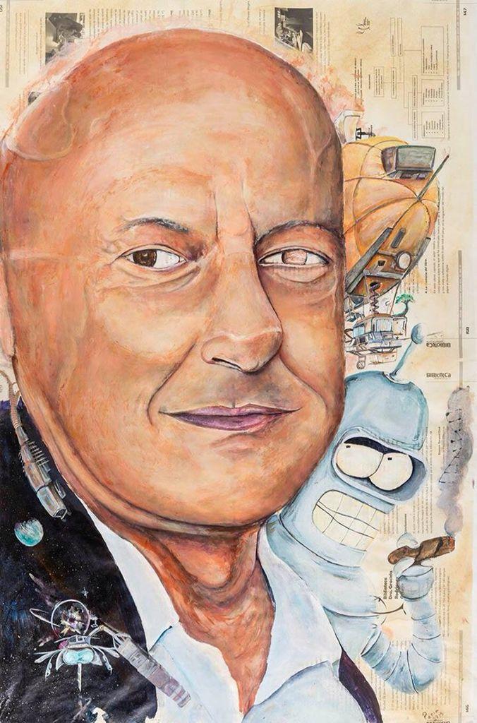 #Retrato de Carlos Chimal por Jair Ulises Hernández Ponce. Acrílico sobre papel. Mención . #UNAM #AutoresUNAM