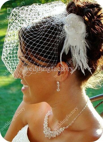Wholesale Tulle Bridal Headwear with Handmade Flower Short Beaded Bridal Veil Weddig Accessories, Free shipping, $12.32-13.44/Piece | DHgate