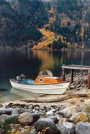 Custom wooden boat building 21' Planing Dory exterior photos