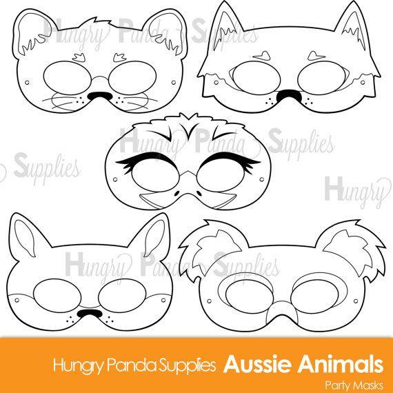 Australian Animals Printable Coloring Masks Aussie Animal Koala Mask Kangaroo Dingo
