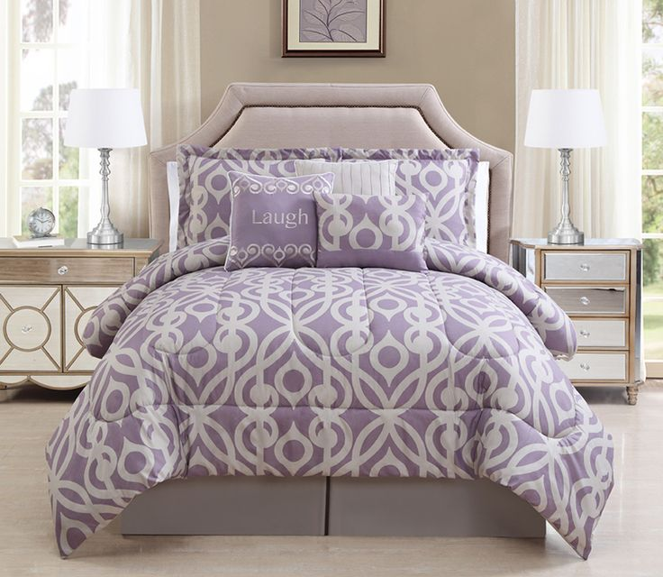 7 Piece Laugh Lavender Taupe Comforter Set In 2019
