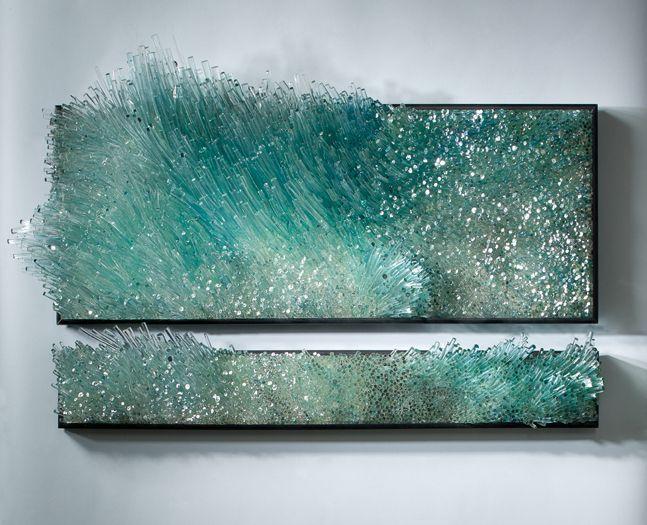 """Beautiful glass art """"waves"""" Shayna Leib, Glass Artist - Sculptural Glass Art"""