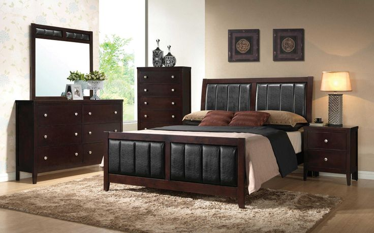 "Carlton 5 Piece Bedroom Suite $1199.00 Queen or $1299.00 King Cappuccino Finish, Modern Style, Panel Bed Design, Solid Wood & Veneers, Black Vinyl Padded Headboard, Foot board, & Mirror Frame, Small Silver Knob Drawer Handles, 2 Drawer Night Stand, 5 Drawer Chest, 6 Drawer Dresser, English Dovetail Drawer Construction  Queen Bed: $399.00 Dresser and Mirror $499.00 56"" x 15.5"" x 39""H / 39"" x 1"" x 38""H Chest of Drawers $299.00 30"" x 15.5"" x 48.25""H Night Stand 22"" x 15.5"" x 26""H  CTC BR202090"