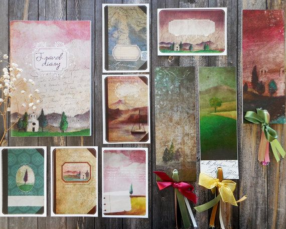 Stationery, stationery gift set for women, landscape watercolor painting printed…