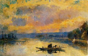 The Ferry at Bouille Sunset - (Albert Charles Lebourg)