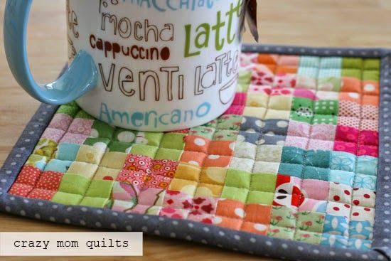 postage stamp hot pad - quilted through middles