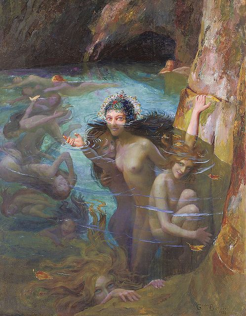 "Gaston Bussiere (1862-1928), ""Sea Nymphs at a Grotto"" by sofi01, via Flickr"