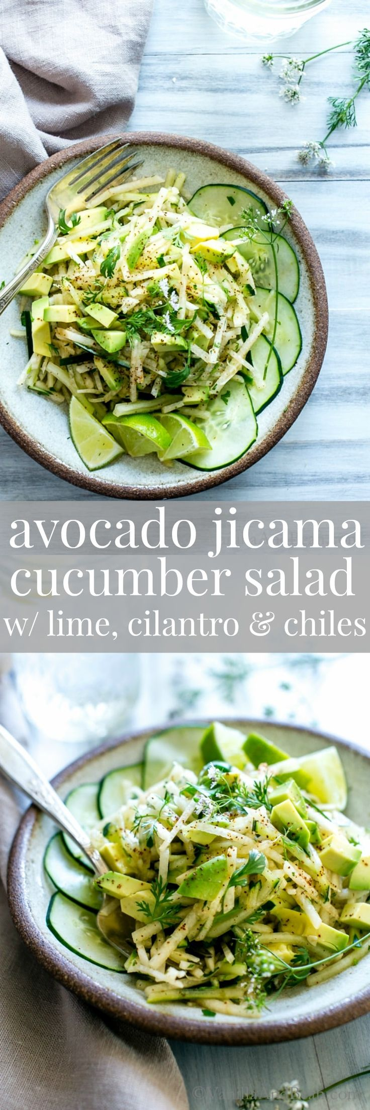 Crunchy and creamy with a hint of spice this hydrating, and nourishing Avocado Jicama Cucumber Salad with lime, cilantro and a pinch chiles will take the edge off Summertime heat. Vegan + GF
