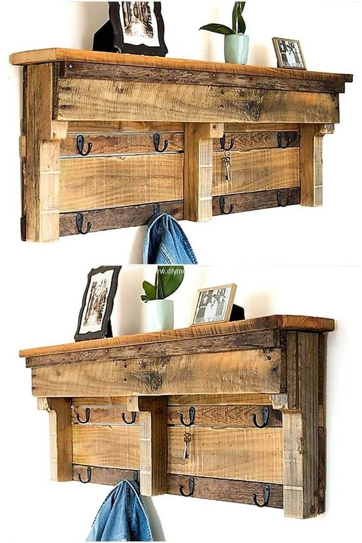 A work done well by crafting wood pallet shelf. Re-transform wood pallets to make handy items for our use. This pallet shelf serves you by hanging your coats, keys or any other thing of use; also by putting decorating items on it. Its simple and elegant color is making it more perfect. #woodworkingprojects #Woodenpalletcrafts #WoodworkingIdeas