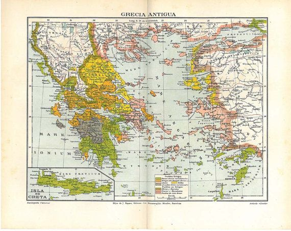 Ancient Greece Vintage Map 1920s Chromolithograph Home Decor
