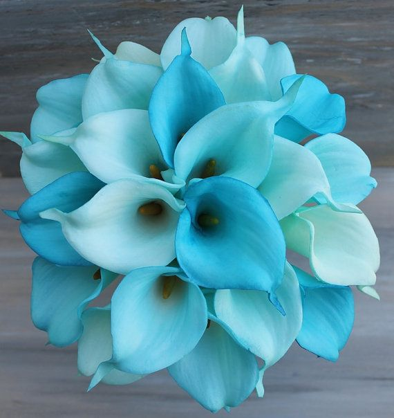 Wedding Bouquet Turquoise Calla Lilly Bouquet by MGFloralDesign