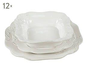 Servizio di 36 piatti in ceramica Vesuvio bianco