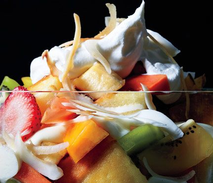 Low-Cal Desserts Fancy Enough for Guests: Tropical Fruit and Cake Trifle. #SelfMagazine