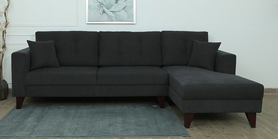 Alfredo Lhs Three Seater Sofa With Lounger And Cushions In Charcoal Grey Colour Sofa Set Online L Shaped Sofa Sofa Set