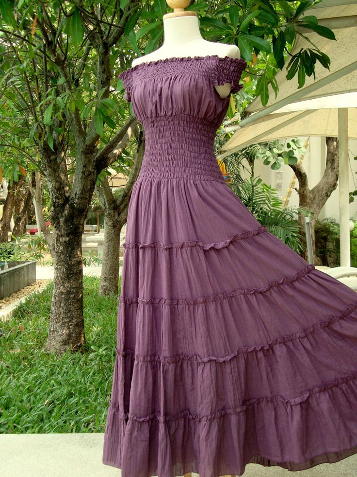 Lavender Purple Maxi Dress -  Long Cotton Dress / Off The Shoulder Maxi Dress // Romantic Dress / Purple Sundress - 'Sweet Summer II'. $57.00, via Etsy.