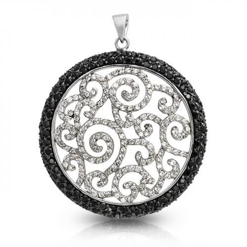 Black and White Swirl Onyx Color CZ Medallion Pendant