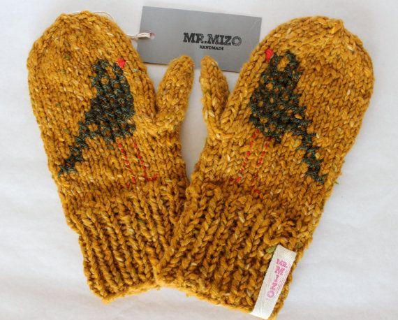 Hand knitted Mustard Wool Mittens