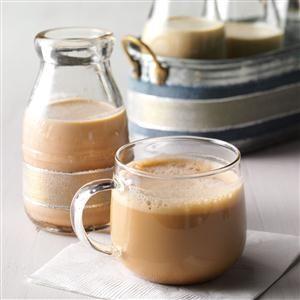 Homemade Irish Cream Recipe - Irish whiskey may be added to this recipe if desired.  Read more: http://www.tasteofhome.com/recipes/homemade-irish-cream#ixzz3U3njKt4m