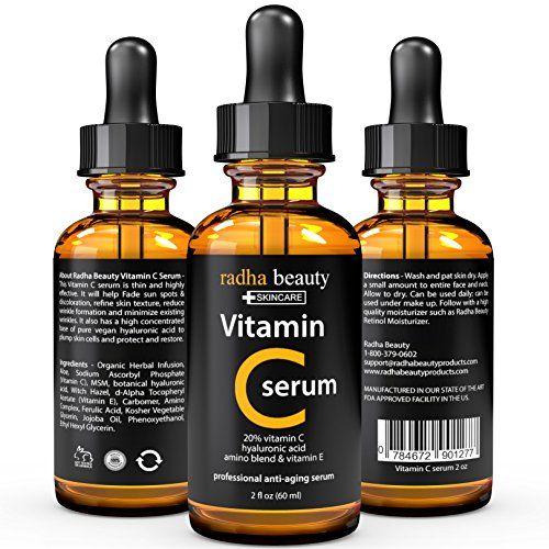 VITAMIN C Serum for Face - 2 fl. oz - 20% Organic Vit C + E + Vegan Hyaluronic Acid - Proffessional Facial Skin Care Formula - Radha Beauty