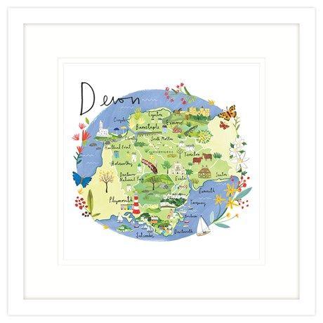 Devon Map Framed Print