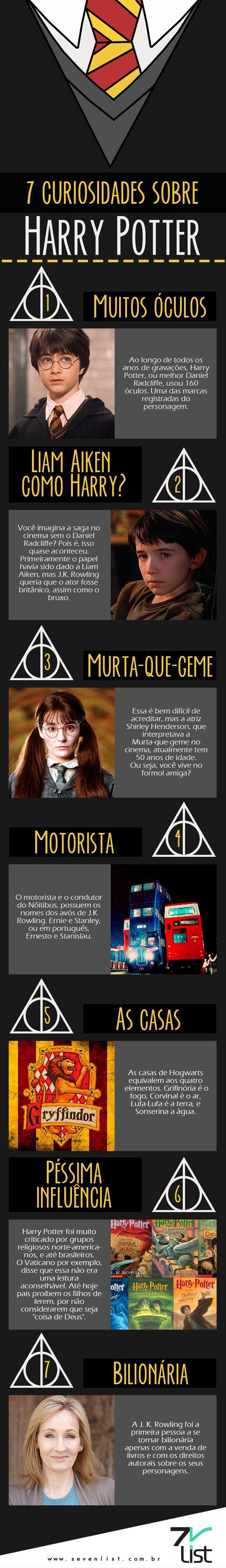 O tempo passa e o bruxinho mais amado de todos os tempos continua mais atual do que nunca. Hoje nós do Seven List separamos 7 curiosidades sobre Harry Potter. #SevenList #HarryPotter #Cinema #Filmes #Movies #Cine #Cinemark #ComicCon #CCXP #Filme #AnimaisFantásticos #Magic #Infográfico #Art