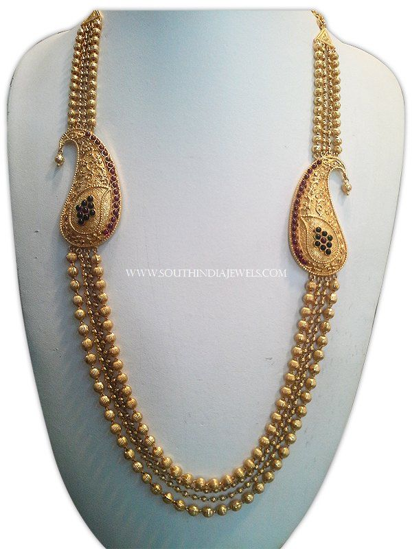 Gold Ball Haram With Big Side Locket, Gold Ball Haram With Side mogappu, Gold Antique Multilayer Ball Haram Designs.