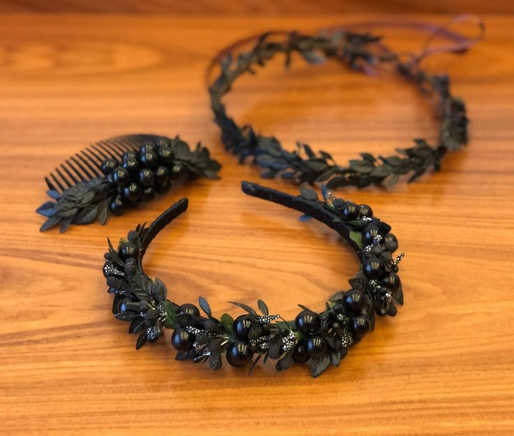 Excited to share the latest addition to my #etsy shop: Black flower crown adult Flower headband Flower hair wreath Bridesmaid crown flower girl crown Black flower comb bridal floral crown boho