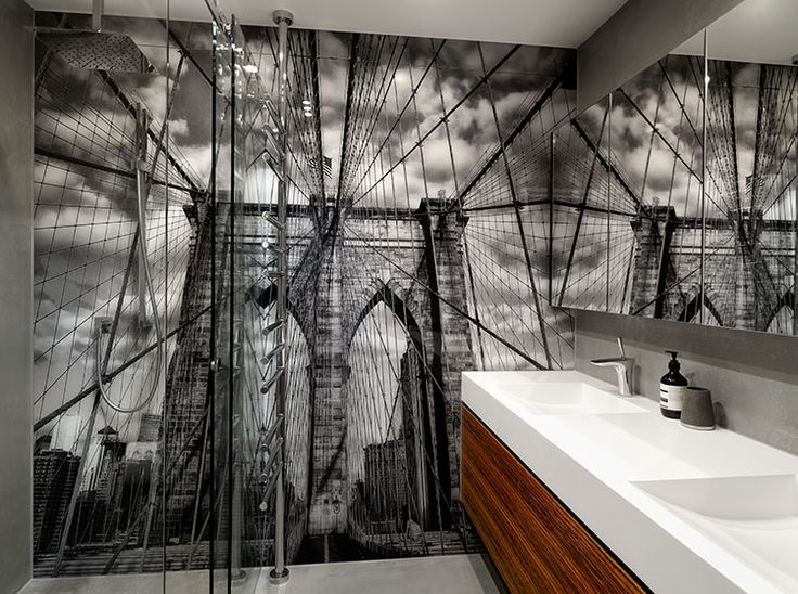 Vr Art Glass Printed Glass Bathroom Splashback Wall Design New York Image House Garden Ideas