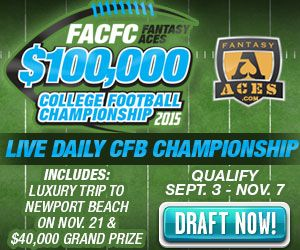 FACFC Qualifying Begins Today at 6pm EST! CLICK TO ENTER Limited Time Deposit Bonus! CLAIM YOUR BONUS Free Entry to $1,500 College Football Contest! CLAIM YOUR ENTRY! Saturday: $20,000 CFB Heisman CLICK TO ENTER! An Incredible CFB Live Final Event! $100,000 FantasyAces College Football Championship November 20-21, 2015 Newport Beach, CA  INCLUDES:  • Two-night Southern California Vacation for Two • Luxury Accommodations at Balboa Bay Resort • Sunset Harbor Cruise & Kickoff Dinner • VIP Live…