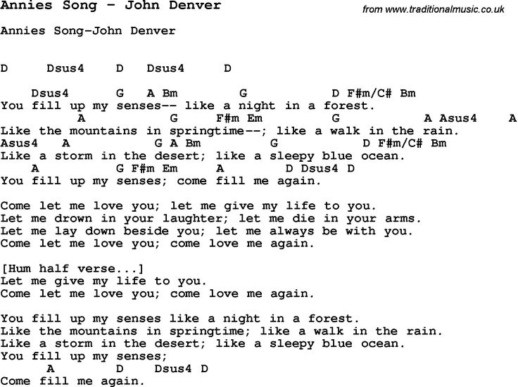 Song Annies Song by John Denver, with lyrics for vocal performance and accompaniment chords for Ukulele, Guitar Banjo etc.
