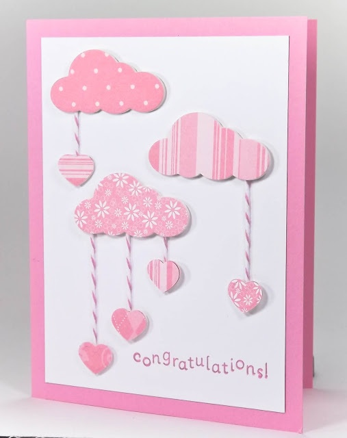 Beautiful for a baby card. Can also use stars instead of hearts.