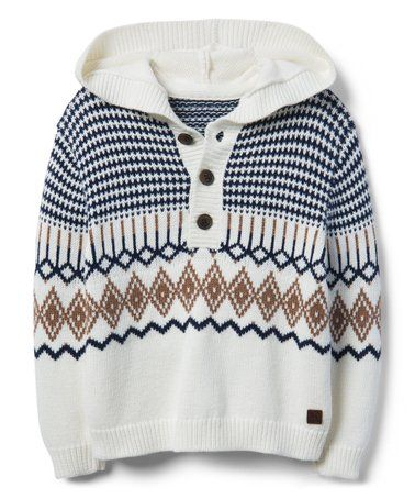 514d47922 Look what I found on  zulily! White   Brown Fair Isle Hooded Sweater ...