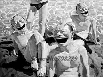 Китай известный современный художник Minjun юэ хип-хоп улыбающееся лицо холст современная декоративная абстрактное искусство walloil живопись 34