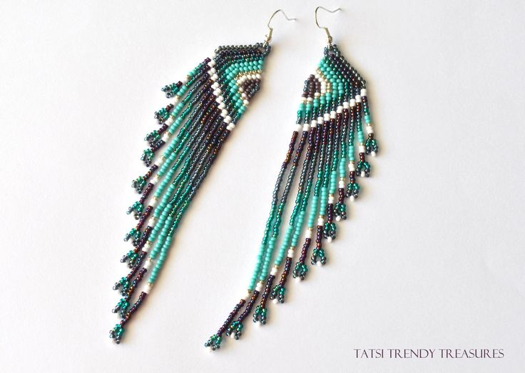 boucles d 39 oreille tiss es en perles de rocailles ailes stylis es agatha bijoux. Black Bedroom Furniture Sets. Home Design Ideas