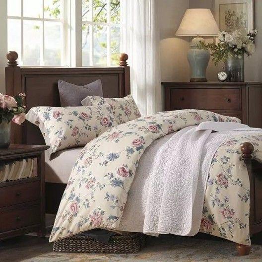 Krémové posteľné obliečky so vzorom ruží