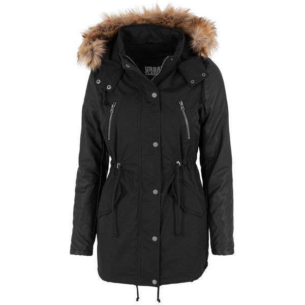 Urban Classics Basic dames lange parka jas met nep leren mouwen zwart ($115) ❤ liked on Polyvore featuring outerwear, coats, urban coats and parka coat