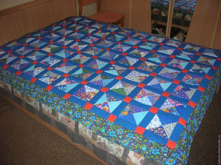 Купить лоскутное покрывало Василек - синий, оранжевый, оранжевое настроение, лоскутное одеяло, лоскутное покрывало