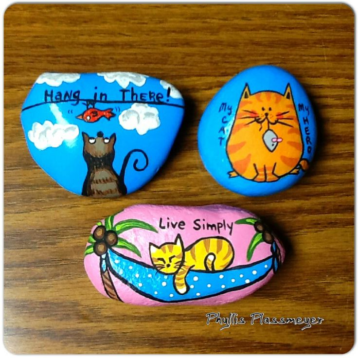 Cats - Painted rocks by Phyllis Plassmeyer