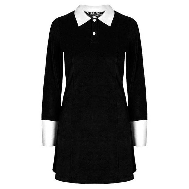 KillStar Addams fluwelen jurk met lange mouwen zwart   Attitude Hollan