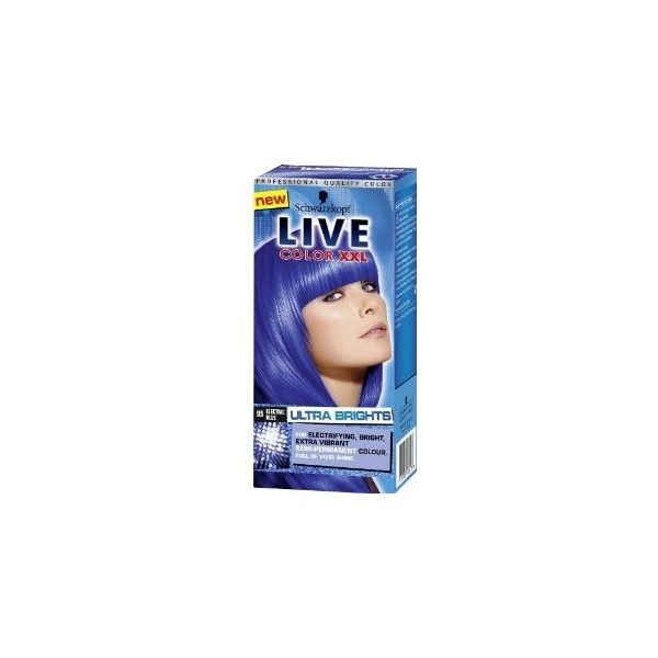 Schwarzkopf Live Color XXL 95 Electric Blue Ultra Brights ❤ liked on Polyvore featuring beauty products, beauty and hair