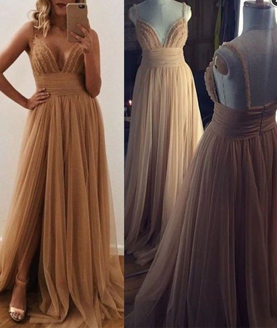 Charming Prom Dress,Tulle Prom Dress,V-Neck Prom Dress,Beading Evening