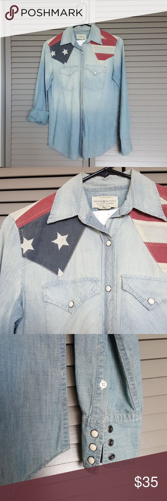 """American Flag Button Down for 4th of July!! Cotton chambray style button down with American Flag detailing. Western style buttons. Get it now for the Fourth of July!!!   I am 5'2"""", 110lbs with an Athletic build, fits relaxed. See comments for measurements.   Brand new, never worn, no tags :( Denim & Supply Ralph Lauren Tops Button Down Shirts"""