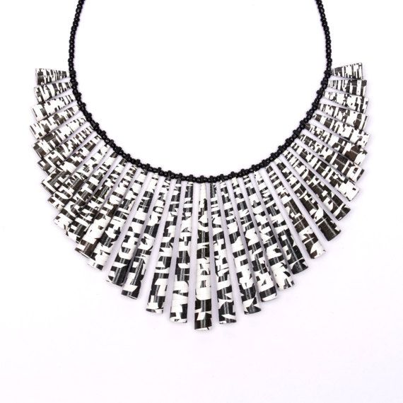 Black and white jewelry  Black and white necklace  Bold