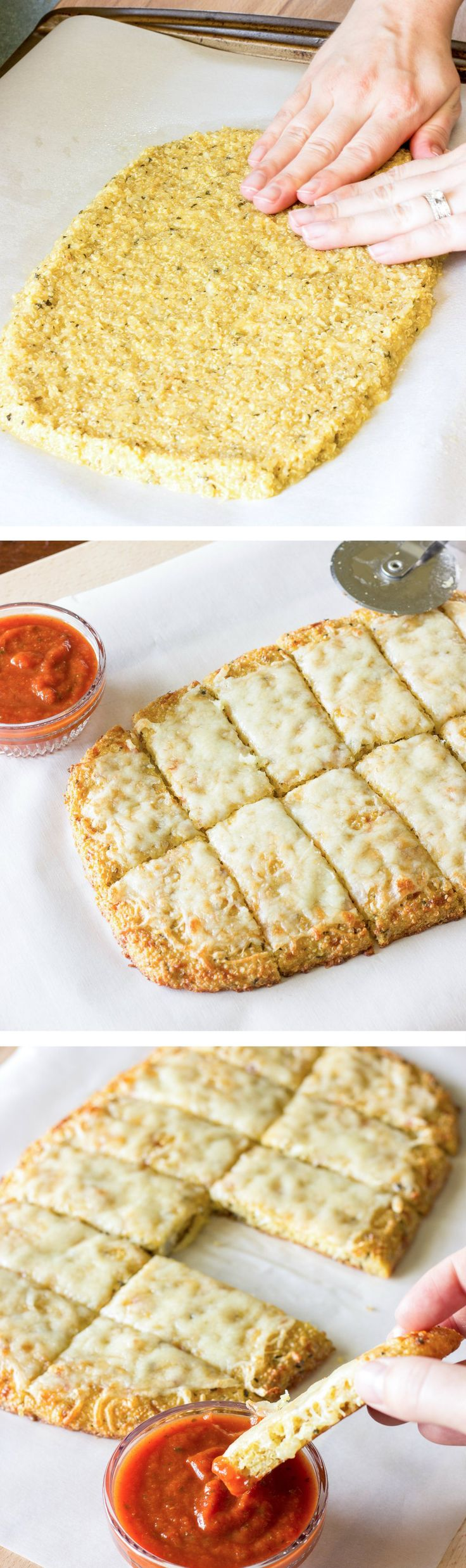 Quinoa Crust for Pizza: double recipe, add 1/2c extra cooked quinoa, and 1/4c extra cheese.