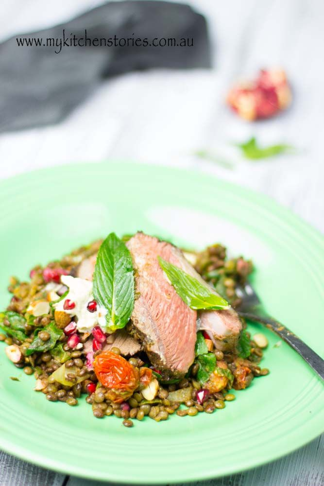 Lamb, eggplant and french lentils
