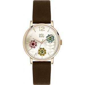 Orla Kiely OK2088 Ladies Swarovski Flowery Set Dark Brown Leather Strap Watch